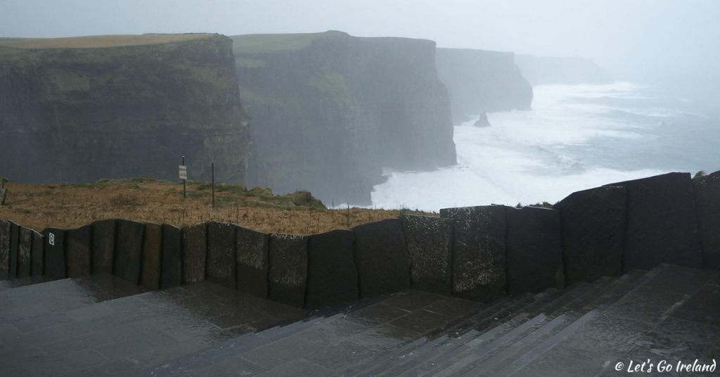 Cliffs of Moher, County Clare, Ireland in misty weather in December.