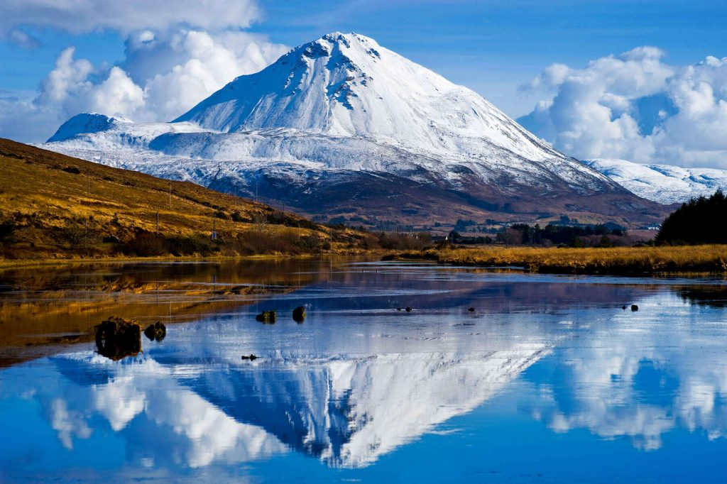 Mount Errigal, County Donegal, Ireland in snow.