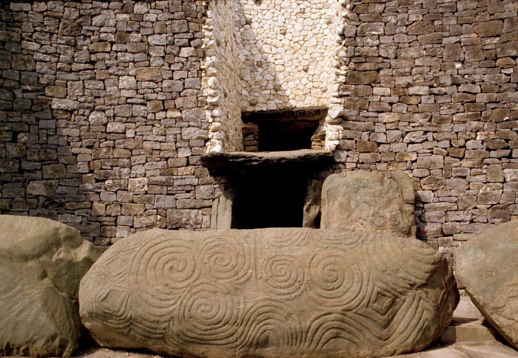Decorative entrance stone to Newgrange, County Meath, Ireland.