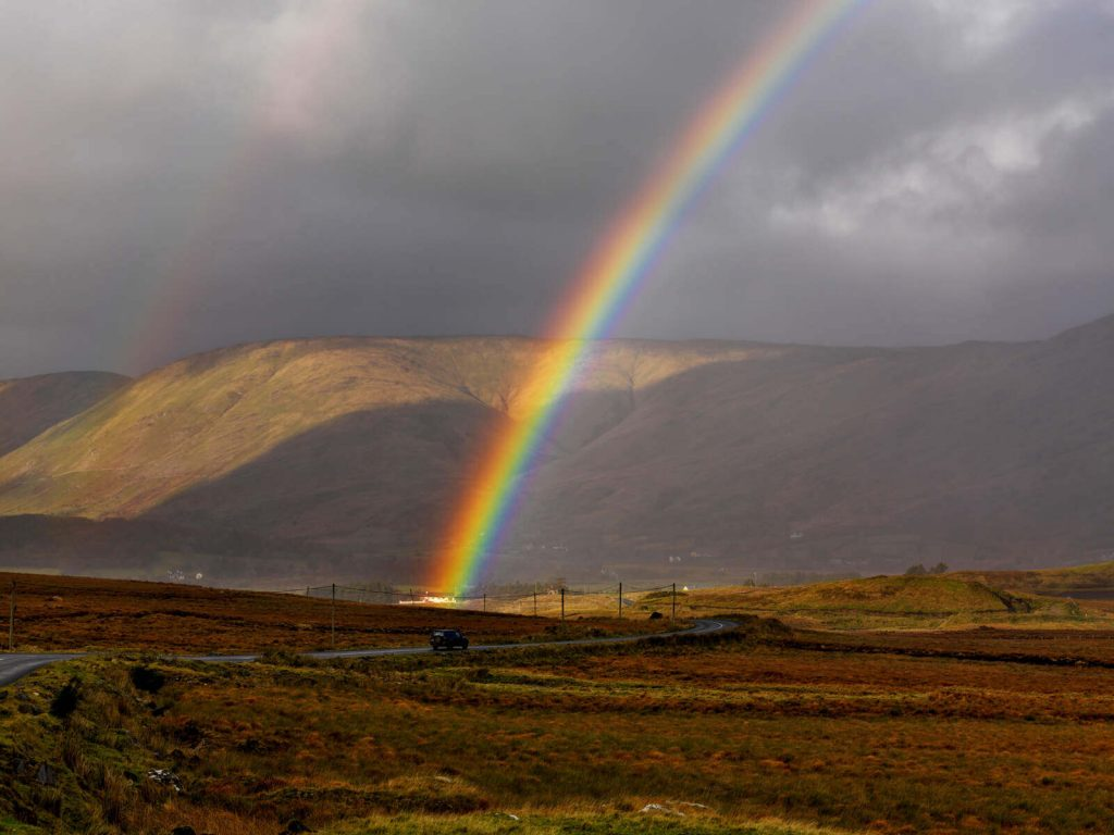 The end of a rainbow in County Galway, Ireland.
