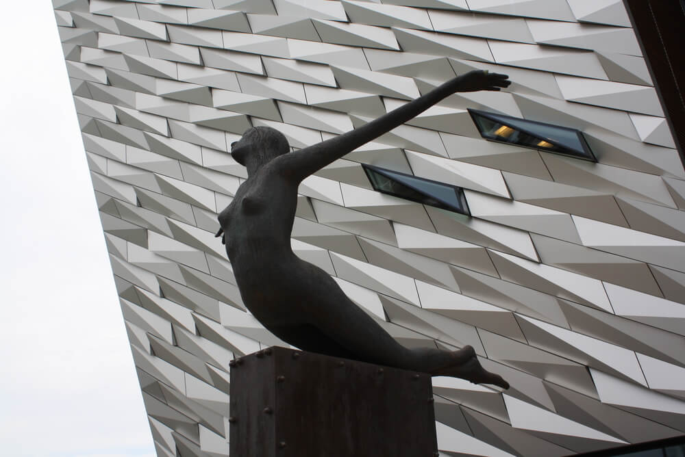 The Titanica Sculpture outside the Titanic Belfast, Northern Ireland.