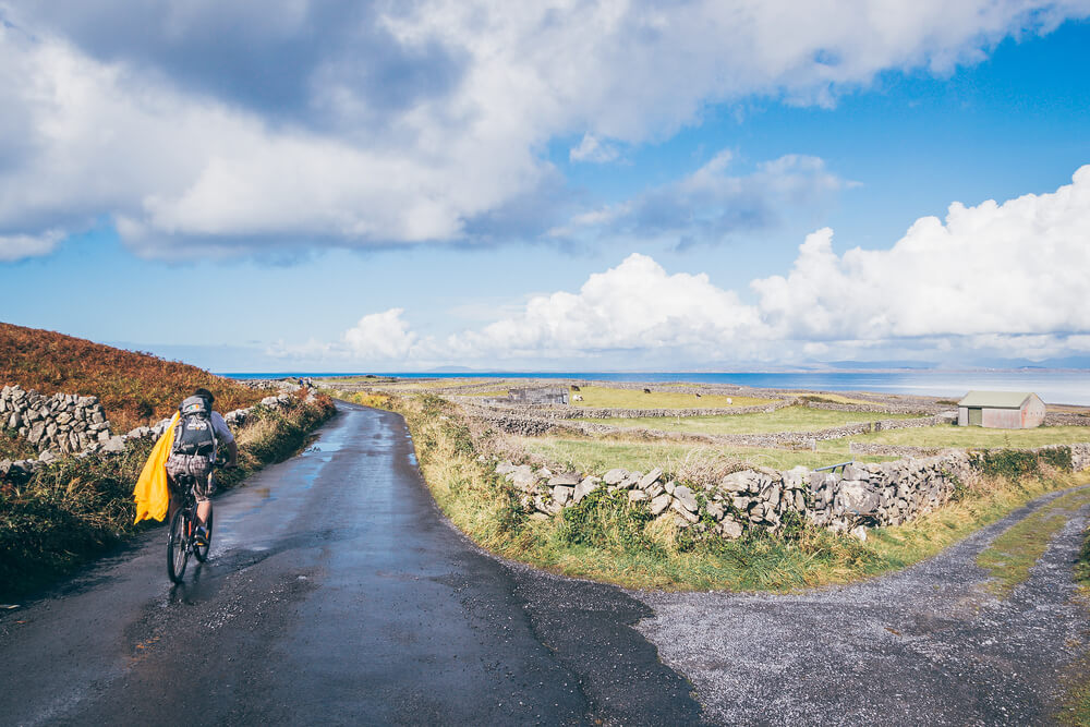 Cycling on the Aran Islands after a rain shower.