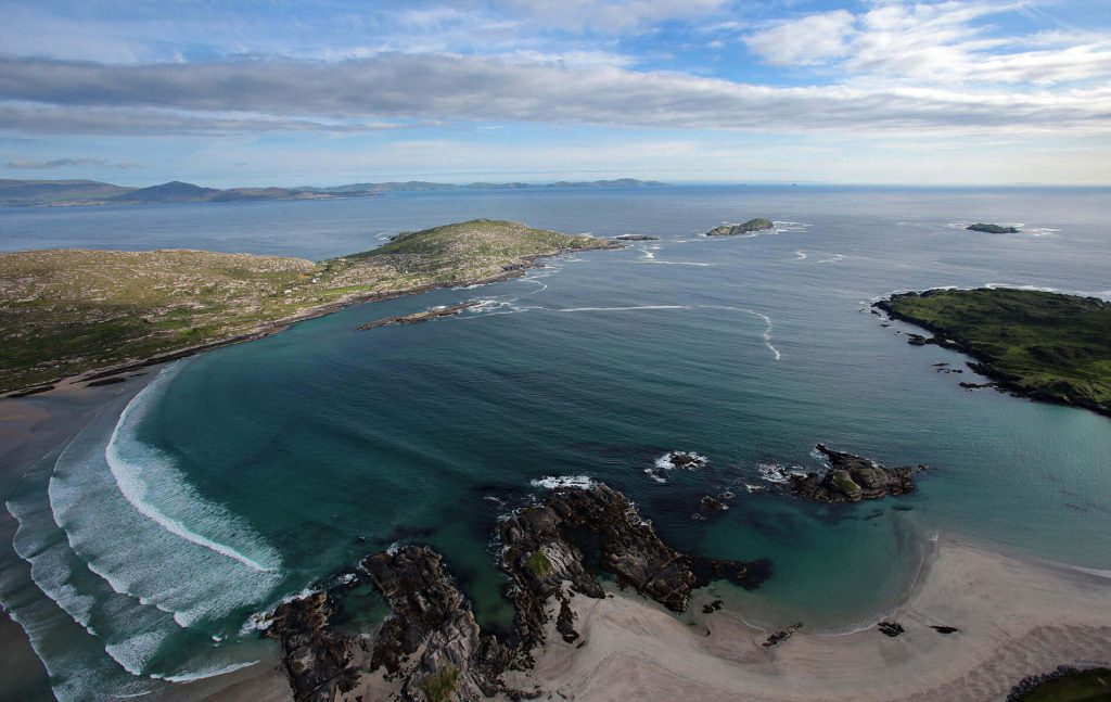 Aerial view of the coast along the Ring of Kerry, Ireland.