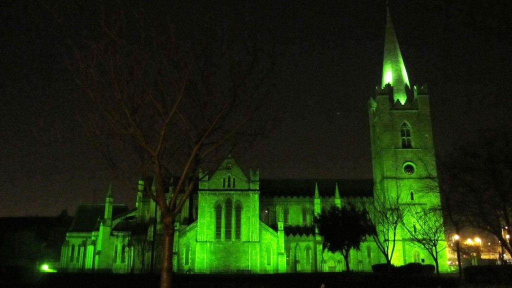St. Patrick's Church in Dublin, Ireland illuminated in green for the St. Patrick's Day celebrations.