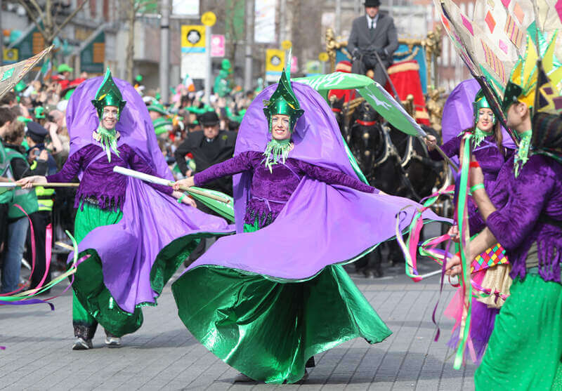 Colorful performers at the St. Patrick's Day Parade in Dublin, Ireland.