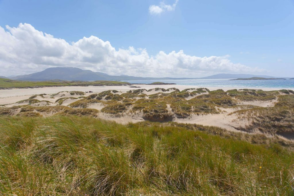 The dunes of Silver Strand beach in County Mayo, Ireland.
