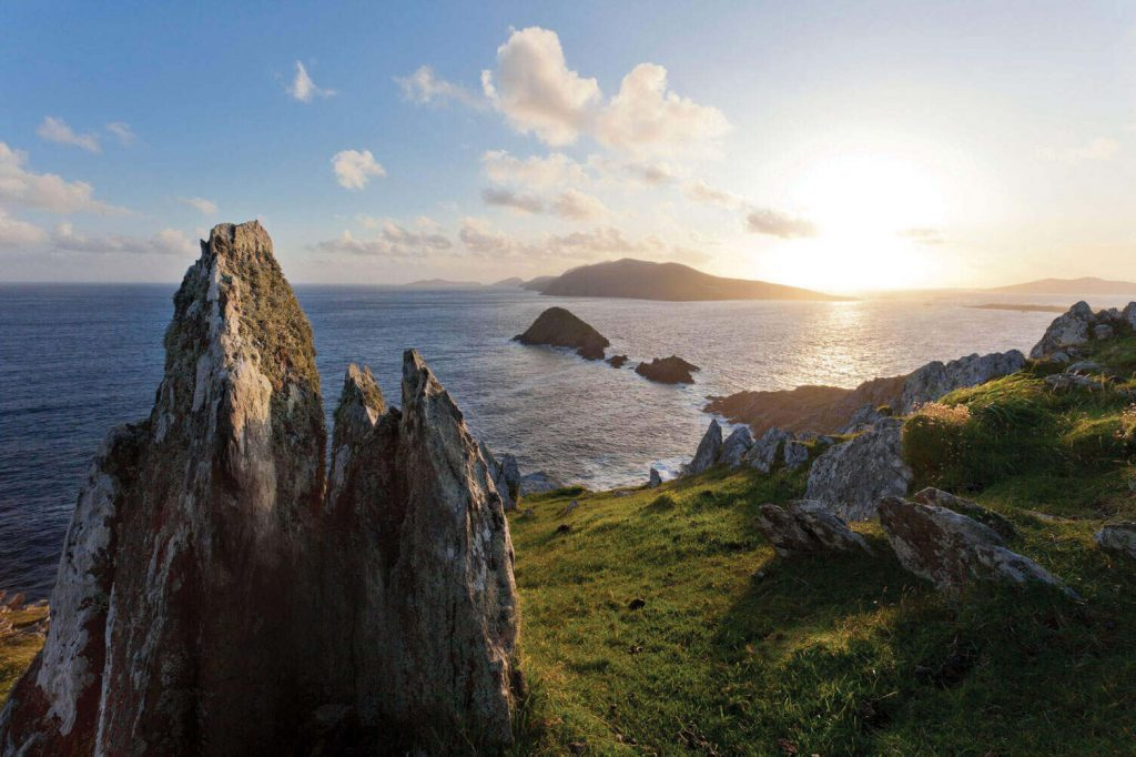 View of the Blasket Islands from Slea Head on Dingle Peninsula, County Kerry, Ireland.