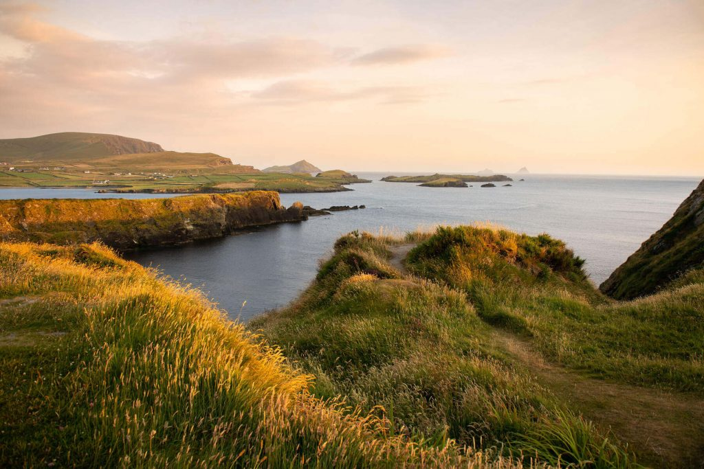 Bray Head, Valentia Island, County Kerry, Ireland at sunset.