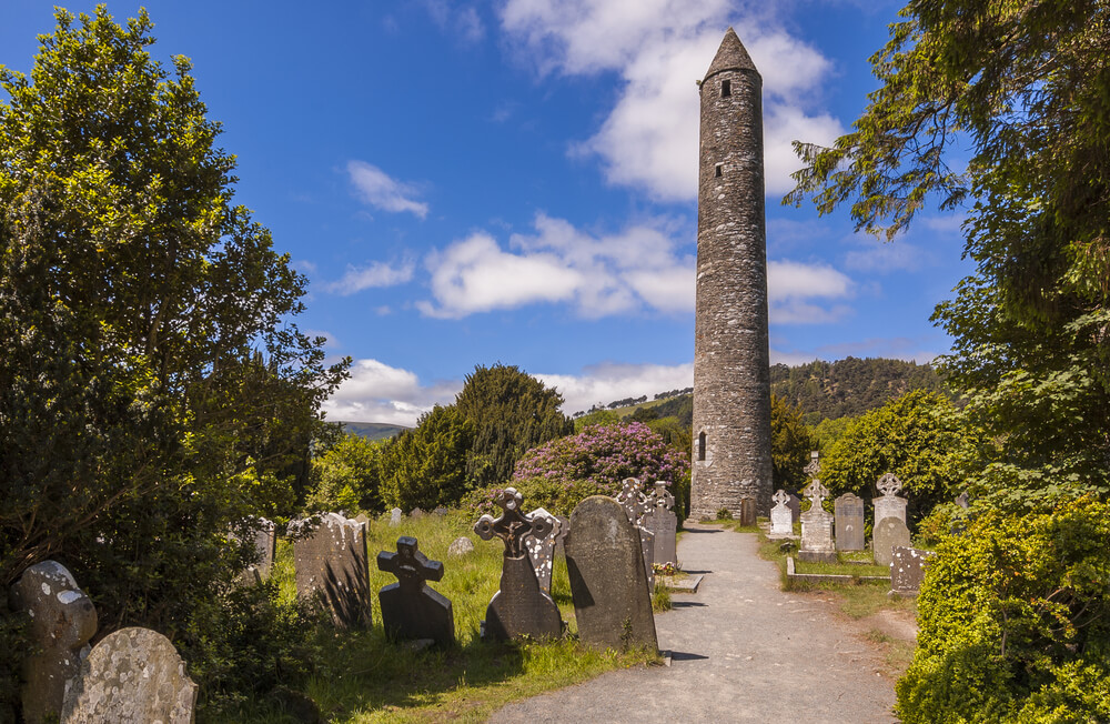 The ancient monastic settlement of Glendalough in Wicklow National Park, Ireland.