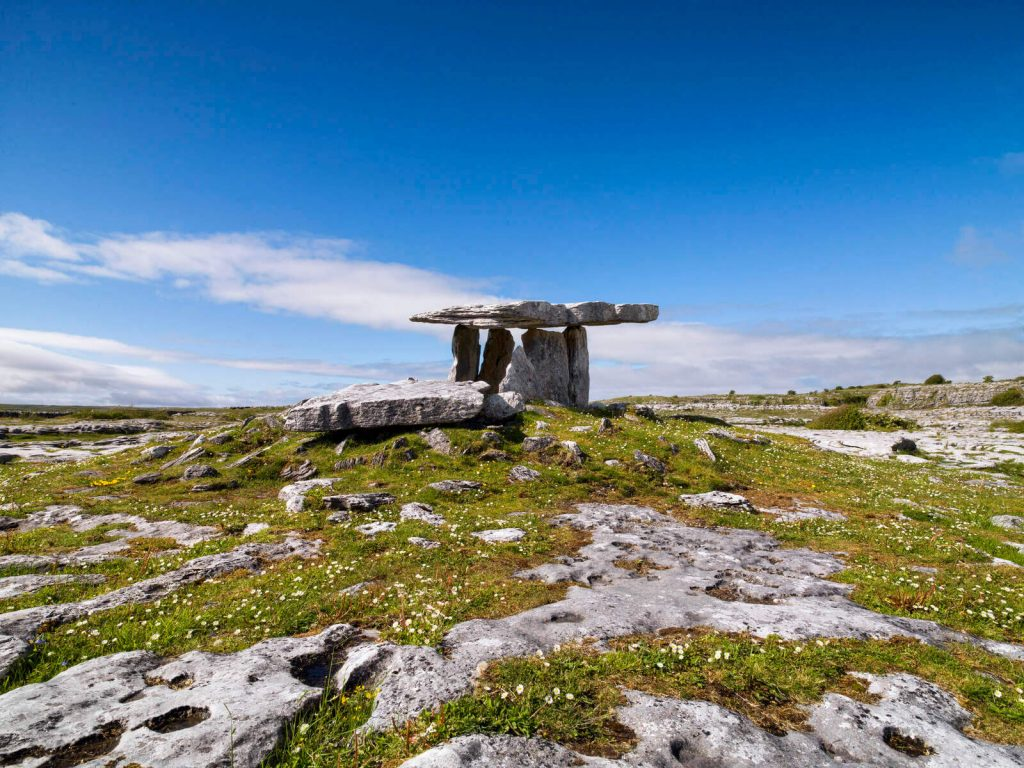 The Poulnabrone Dolmen in the Burren, County Clare, Ireland
