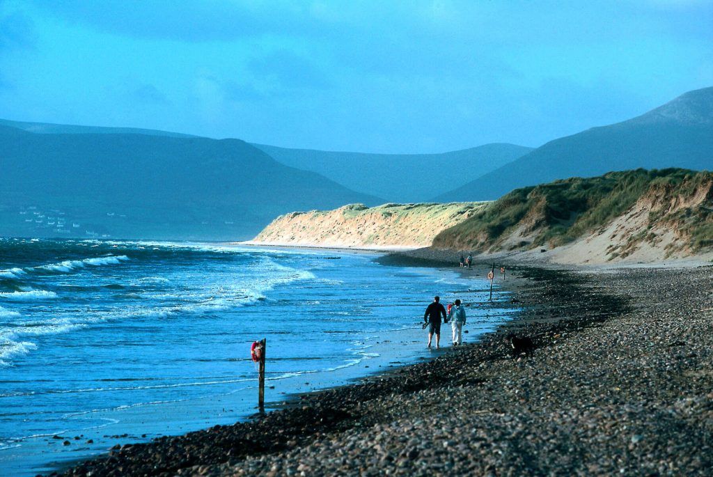 Walking on a beach along the Ring of Kerry, Ireland.