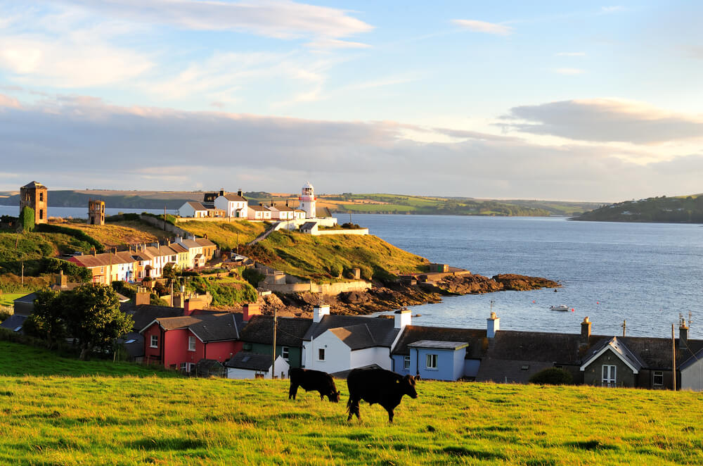View of Roches Point Lighthouse in County Cork, Ireland.