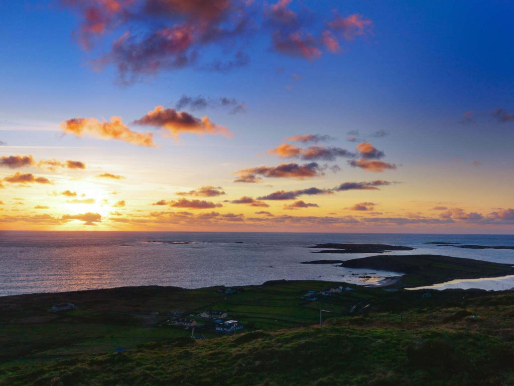 Western sunset along the Sky Road in Connemara, County Galway