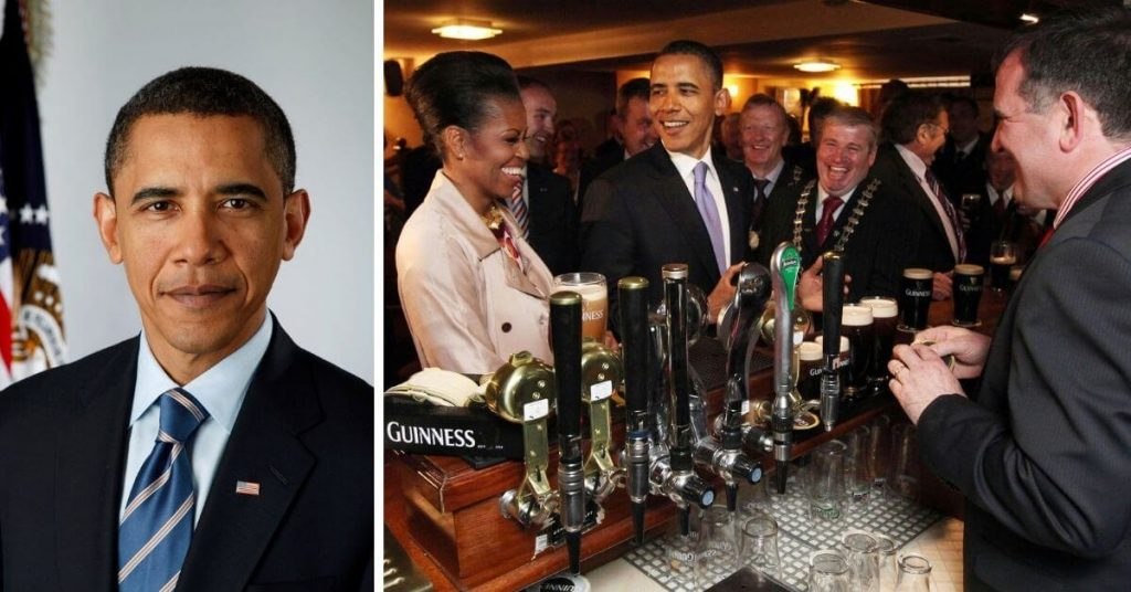 Barack Obama enjoying a pint in Ollie Hayes Bar, Moneygall in County Offaly, during his trip to Ireland.