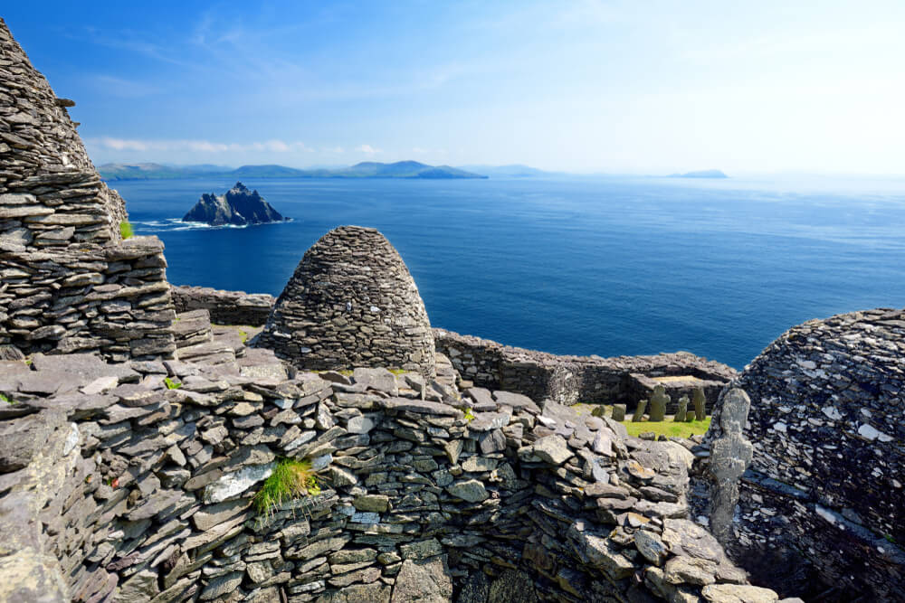 Bee-hive huts on Skellig Michael, Ireland.