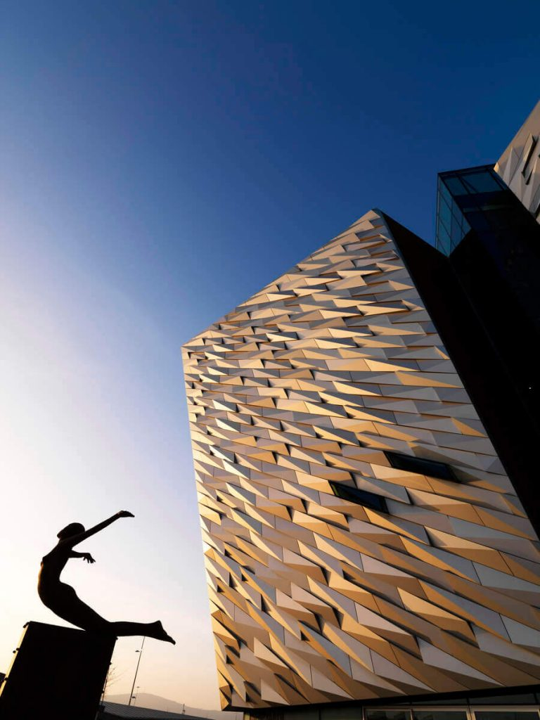 Titanic Belfast and the Titanica sculpture by Rowan Gillespie, Belfast, Northern Ireland