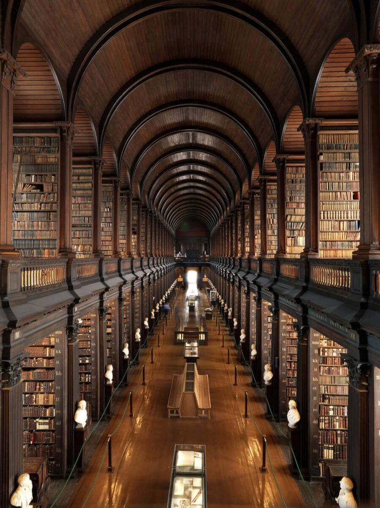 View of the Long Room of Trinity College Dublin, Ireland.
