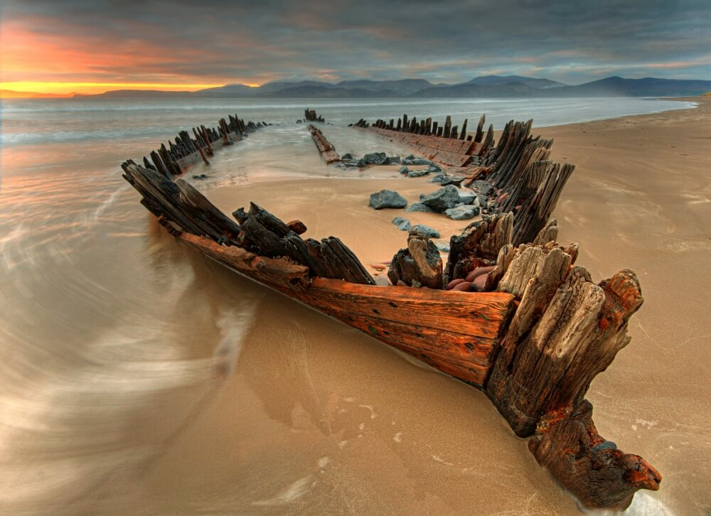 The wreck of the Sunbeam on Rossbeigh Beach in County Kerry.